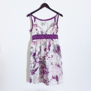 Max Studio Cream and Purple Floral Dress S